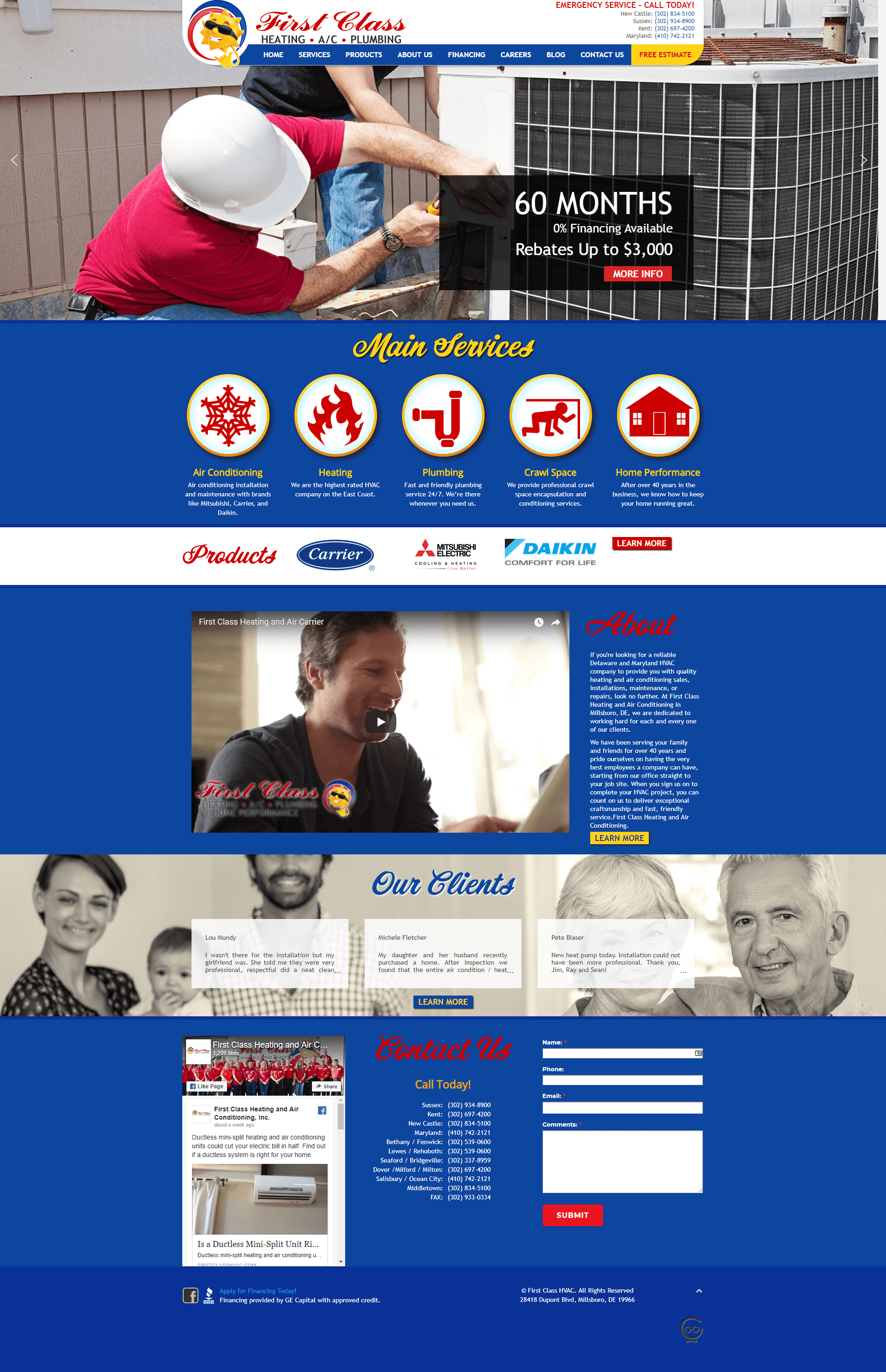 First Class HVAC homepage