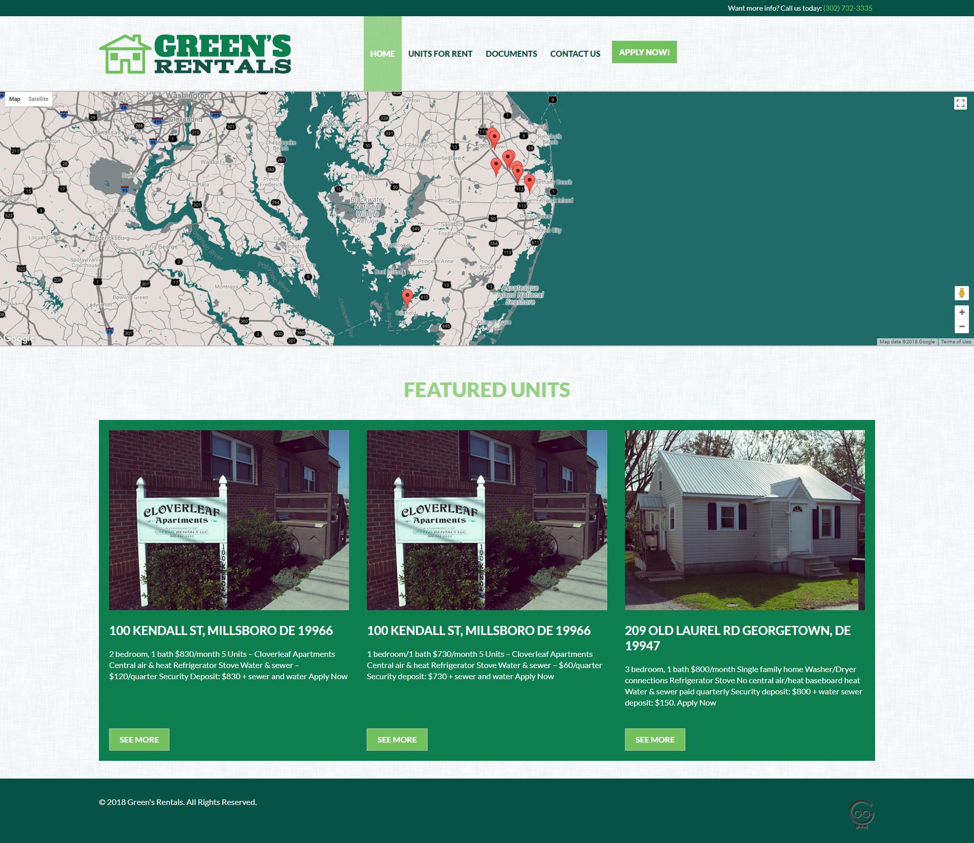 Green's Rentals homepage