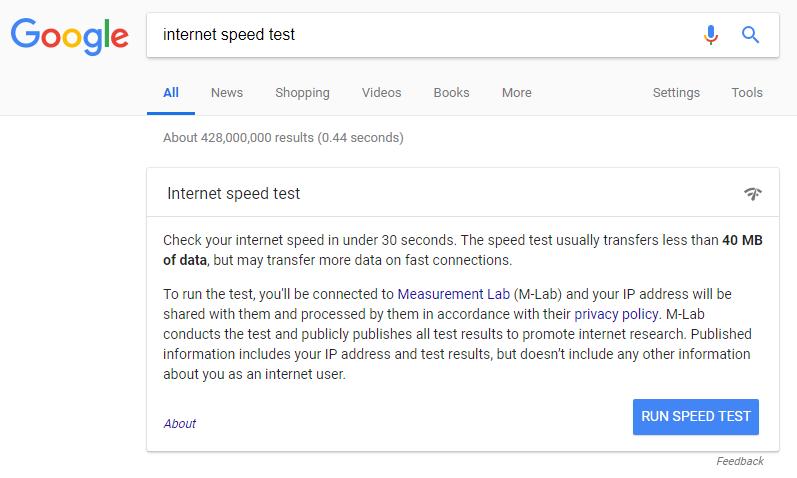 Internet Speed Test on Google