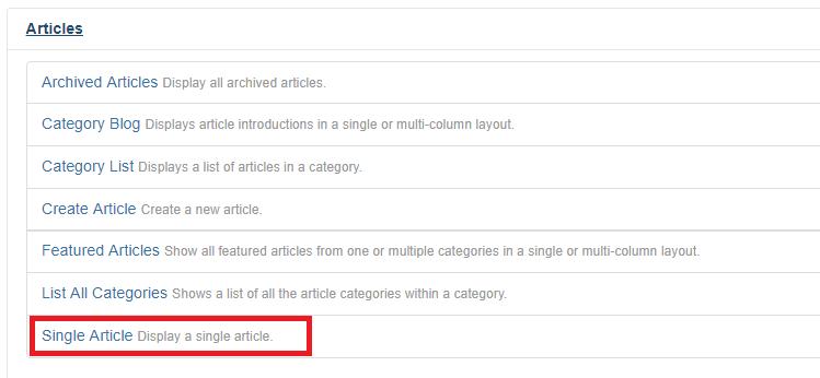 menu item type single article