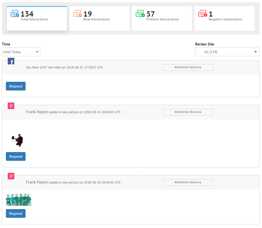 Interactions dashboard