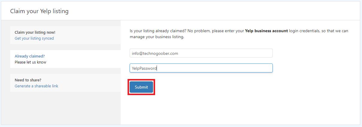 Yelp username and password