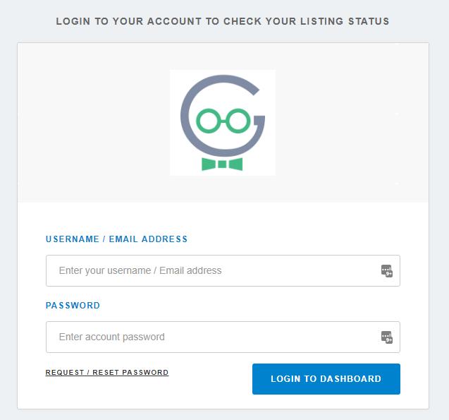 Login to Listing Dashboard